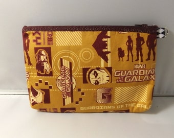 Guardians of the Galaxy  Fabric Zipper  Pouch  Handmade -- Pencil Pouch, Gadget Pouch Gold