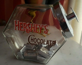 Hershey's Retro Style Chocolate Storage Jar Canister Metal Lid Cookie Jar Style