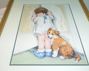 "Completed Cross Stitch, Girl and Puppy, Disgrace Bessie Pease Gutmann, Framed Picture 21"" x 17.5"