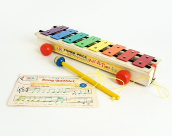 Vintage 1960s Toy / 60s Fisher Price Pull-A-Tune Xylophone with Stick and Music Sheet / Wood Wheels and Base / Music Learning Retro Toy