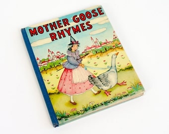 Vintage 1930s Childrens Board Book / 1939 Mother Goose Rhymes Platt and Munk #852 Hc / Classic Nursery Rhymes
