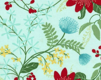 Vanessa Fabric Collection Large Floral Red Wild Prairie Flowers on Aqua Blue TT