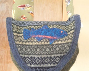Felted wool up-cycled sweater and tie purse / shoulder bag / cross body bag with rainbow trout and fishing theme