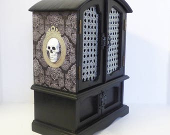 Gothic Jewelry Box - Skull Jewelry Cabinet - Upcycled Wood Jewelry Box - Gothic Home