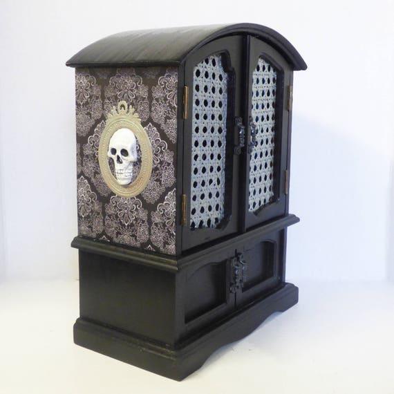 Gothic Jewelry Box Skull Jewelry Cabinet Upcycled Wood Jewelry