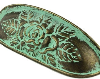 """Verdigris Blue Green Bin Pull  Old Rose Pattern Antiqued Patina 3-3/4"""" Centers  Matching  Knobs Available"""