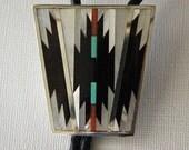 Zuni Silver Bolo Tie Inlaid Stone Shell