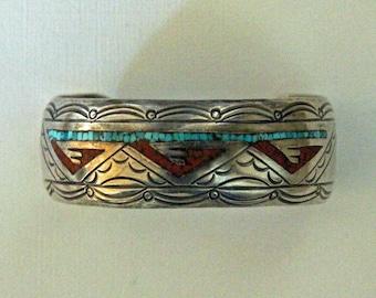 Navajo Silver Inlaid Bracelet J Nezzie