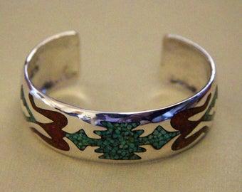 Silver Navajo Bracelet Inlaid Delvin J Nelson
