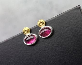 Cute Intense Pink Tourmaline Stud Earrings 22K Yellow Gold Silver Primitive Delicate Oval Cabochons October Birthstone - Sonnenkirschchen