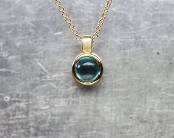 Luxurious Teal Blue Tourmaline Necklace 14K Yellow Gold Bezel Round Cabochon Gemstone Brazil October Birthstone Gift Idea - Petrol Bubble