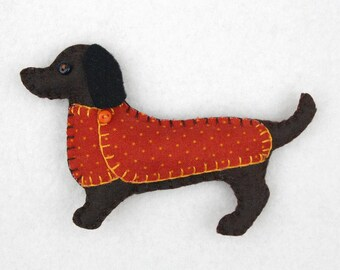 Dachshund magnet, Felt dog magnet, Dachshund ornament, Dog Christmas gift, Handmade felt Dachshund, Dark brown Dachshund magnet, Bruno