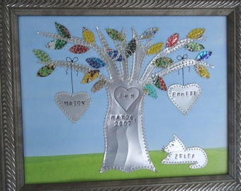 10 Year Wedding Anniversary Tin Anniversary Gift Hearts Family Tree Personalized Engraved Dates and Names Stamped