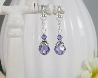 Purple Crystal Earrings Swarovski Sterling Silver Filigree Gifts for Her