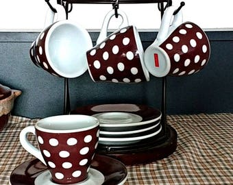 White on Brown Polka Dot Espresso Cups and Saucers, Set of 4