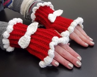 Fingerless gloves, gloves, ribbed gloves, ruffled gloves, handwarmers, hand warmers, fingerless, gauntlets, womans accessory, accessory