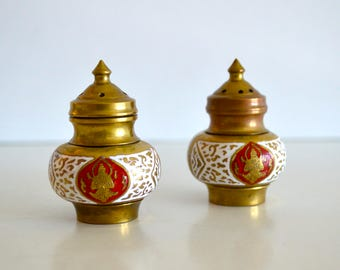Vintage Brass Salt and Pepper Siam Smaller Sized