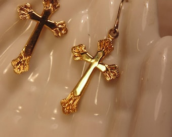 Vintage Gold Over Sterling Cross Earrings Cross Jewelry Gold Cross Earrings Cross Pierced Earrings Religious Jewelry