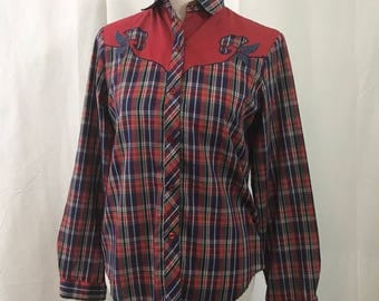 Vintage 1980s Red and Blue Western Style Button Down Shirt M