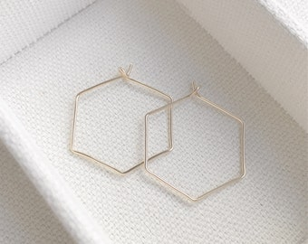 NEW - Gold Hexagon Wire Earrings - Simple Gold Hexagon Shaped Hoop Earrings - Perfect Gift - Minimalist - Gift For Her - The Lovely Raindrop