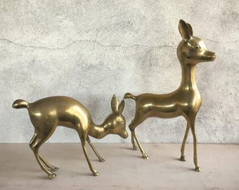 Pair large Midcentury Modern brass deer figurines, buck doe family, vintage deer statue, brass decor, Christmas decor, retro brass animal