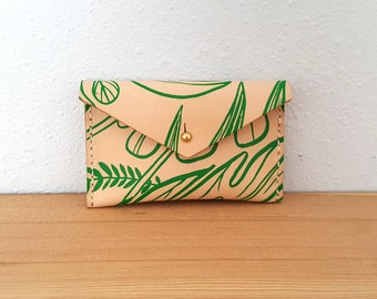 Small  Leather Change Purse in Tropical Print