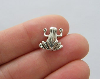 8 Frog spacer beads antique silver tone A34