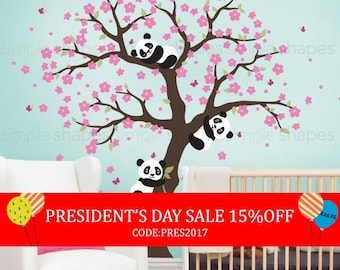 President's Day Sale - Panda and Cherry Blossom Tree Wall Decal, Panda Wall Decal, Blossom Tree for Baby Nursery, Kids or Childrens