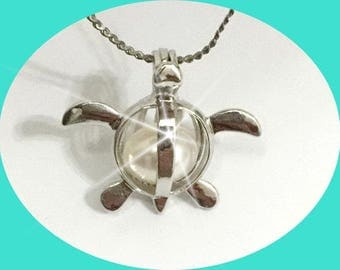 QTY: 3 pieces Sea Turtle - pearl cage pendant - Locket - charm -  gemstone - cage - Pick a pearl