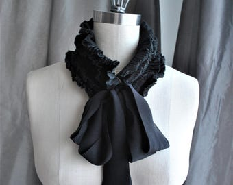 NEW Ruffled Collar with Silk Ties/Black collar/Pleated Collar/Ruffle waist/Designer collar/Couture collar/Ruffled choker/Plisse collier/フリル襟