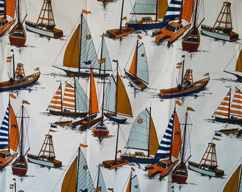 Vintage Nautical Cotton Screenprinted Boat Fabric. Over Two Yards