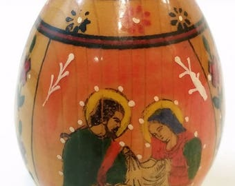 Orthodox Virgin Mary Christ Jesus Holy Family Hand Painted Wood Icon Egg