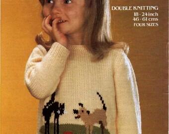 Knitting Pattern - Child's Sweater/Jumper - Motif Design Cat and Dog download PDF
