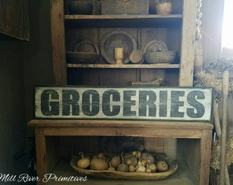 Early looking Antique Primitive GROCERIES Wooden Sign