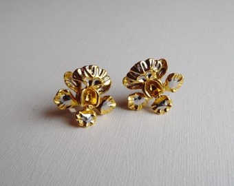 Silver and Gold Orchid Stud Earrings, Costume Jewellery, Vintage Earrings, Vintage Jewellery, 1990s
