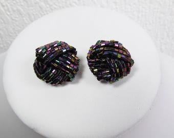 Large Purple and Gold Beaded Knot  Clip On Earrings, Vintage Earrings, 1960s, 1970s, Costume Jewellery,