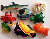 8 Vintage aquatic animal magnets!