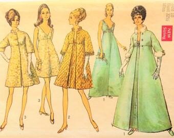 1960s Dress pattern, sleeveless cocktail, long short dress & coat, uncut vintage sewing pattern Simplicity 8465 misses size 12 bust 32 uncut
