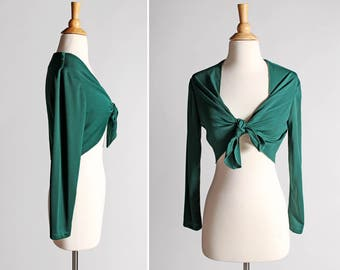 Vintage Hunter Green Tie Front Blouse - Crop Top Shirt Long Sleeves Short Retro 70's 1970's Hippie Festival - Size Small or slim Medium