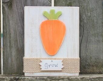 Spring Sign~ Grow Sign~ Spring Decor~ Rustic Spring Decor~ Carrot Sign~ Spring Block~ Shelf Sitter~ Mantle Decor~ Housewarming Gift