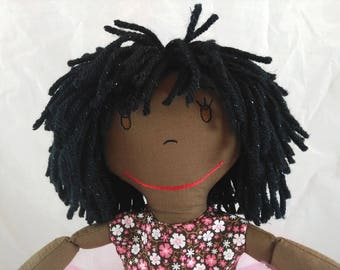 Rag Doll in Tutu, embroidered face,sparkling hair Rag Doll,Removable Clothes,Rag Doll,Fabric Doll, Stuffed Doll,Plush Doll