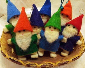 Lucky Holiday Gnomes - Elf, Gnome, Handmade, Cloth Doll, Ornament, Blue, Red, Green, White Beard