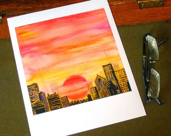 Gilded Sunset with city skyline - fine art print on metallic pearl paper