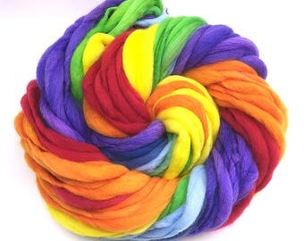 Rainbow yarn, 55 yards, handspun super bulky in merino wool - 3.3 ounces/ 94 grams