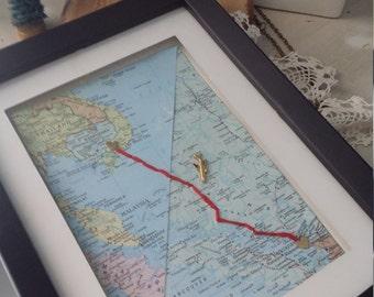Long distance love custom map shadow box frame