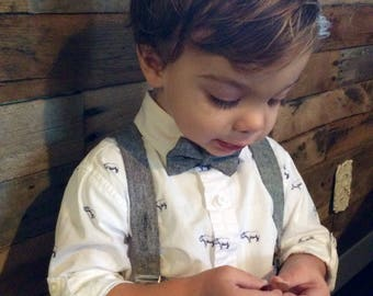 Grey Suspenders linen suspenders Gray Suspenders Boys Suspenders grey linen suspenders Baby Suspenders bow tie and suspenders and bow tie