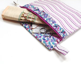 Needlepoint project bag, zipper pouch for crafts and sewing projects, purple bag, travel storage pouch