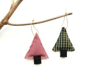 Tree sachet ornaments, Balsam fir pine, scented ornament, scented sachets, red green plaid sachets, Christmas tree trimming