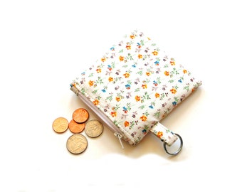 Coin purse key ring holder, change purse, zipper pouch, cotton floral fabric, money holder, small wallet