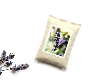 Lavender photo sachet, organic lavender buds, linen sachet gift for her under 10, sachet 5 x 3.5 inches, drawer freshener